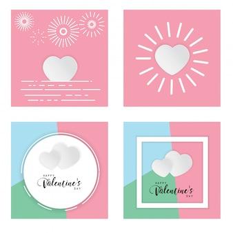 Feliz dia dos namorados dia caixa de texto fundo pastel amor ilustração vetorial de coração branco