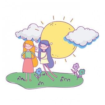 Feliz dia dos namorados, dia ensolarado grama e miúdas giras amam ilustração