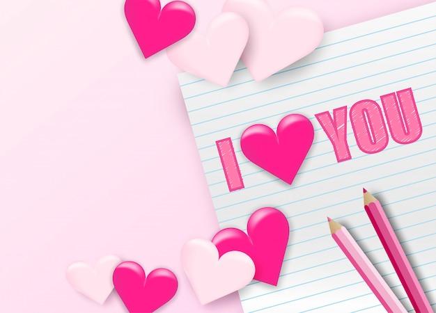 Feliz dia dos namorados dia plano de fundo. design com coração e estacionário. escreva confessar amor no papel.