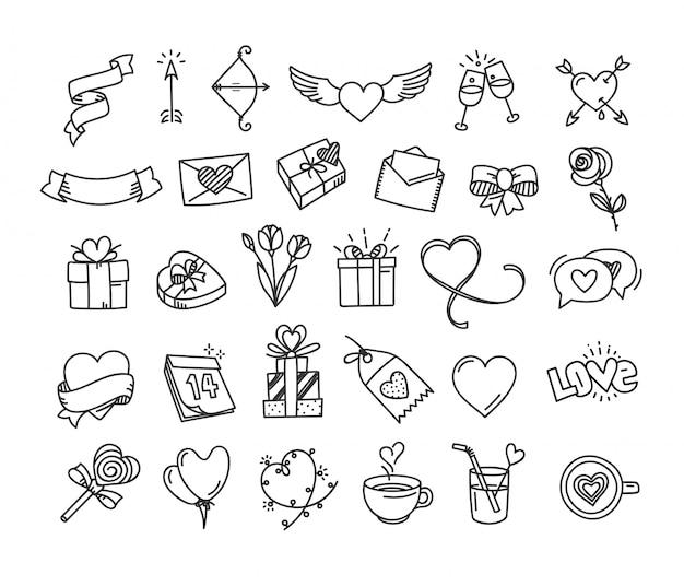 Feliz dia dos namorados doodle elementos de estilo