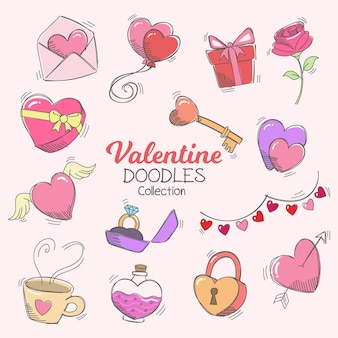 Feliz dia dos namorados doodle ícones e coleção de elementos