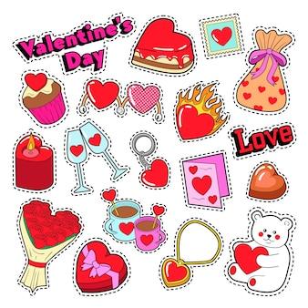 Feliz dia dos namorados doodle para álbum de recortes, adesivos, adesivos, emblemas.