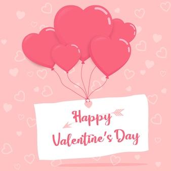 Feliz dia dos namorados em papel com balões de coração