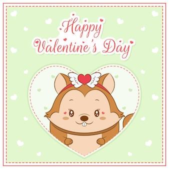 Feliz dia dos namorados esquilo fofo garota desenho cartão postal grande coração