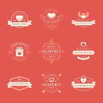 Feliz dia dos namorados etiquetas, emblemas, símbolos, ilustrações e elementos de tipografia para cartões de felicitações e banners de promoção.