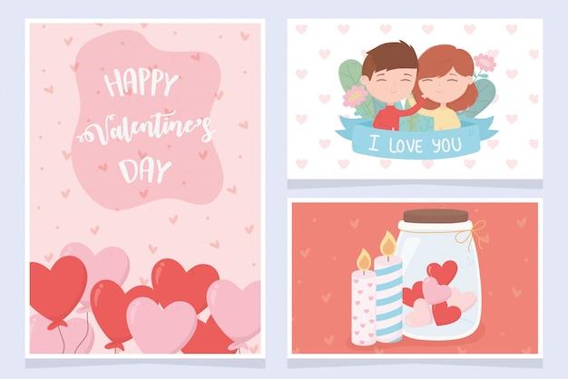 Feliz dia dos namorados feliz dia dos namorados casal bonito com balão coração velas conjunto de cartões