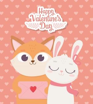 Feliz dia dos namorados, fox bonito com carta de envelope e coelho com decoração cachecol e corações