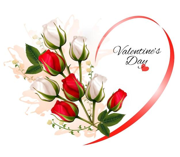 Feliz dia dos namorados fundo bonito com rosas. vetor.