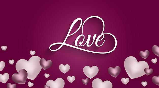 Feliz dia dos namorados fundo com coração e composição atual para um banner na moda