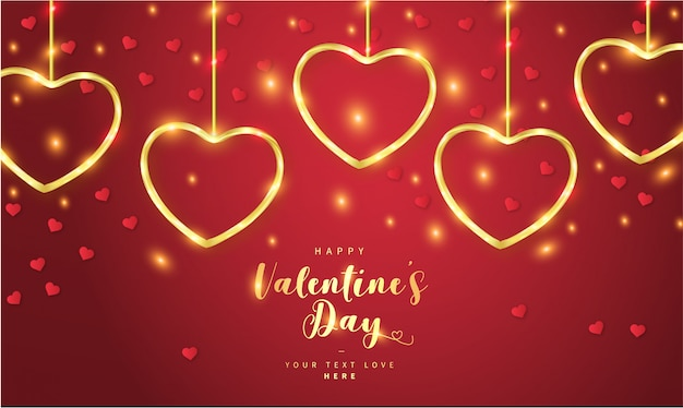 Feliz dia dos namorados fundo com corações de ouro