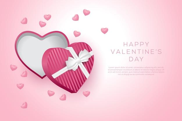Feliz dia dos namorados fundo com corações e presente