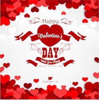 Feliz dia dos namorados fundo com corações vermelhos e fita vermelha