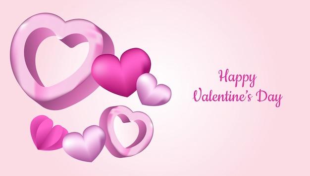 Feliz dia dos namorados fundo com forma de coração 3d