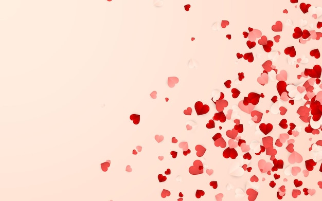 Feliz dia dos namorados fundo, confetes de corações de papel vermelho, rosa e branco.