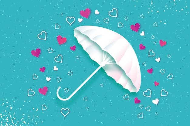 Feliz dia dos namorados guarda-chuva branco ar com amor chovendo origami coração estação de chuvas coração em estilo de corte de papel sobre fundo azul férias românticas amor fevereiro