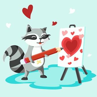 Feliz dia dos namorados guaxinim com quadro de cavalete