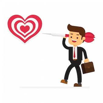 Feliz dia dos namorados homem de negócios arqueiro apontando para um coração