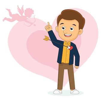 Feliz dia dos namorados, homem se apaixonando pela flecha de cupido