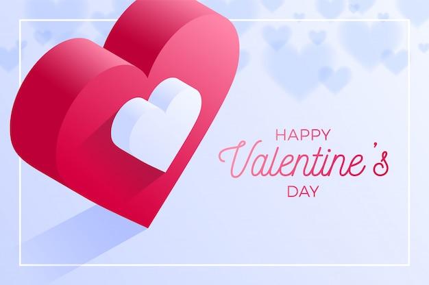 Feliz dia dos namorados ícone de coração vermelho amor. isométrico do coração vermelho amor.