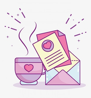 Feliz dia dos namorados, ilustração em vetor mensagem carta xícara de café celebração romântica