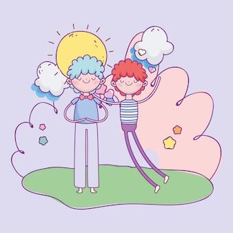 Feliz dia dos namorados, jovens em corações de amor amam ilustração dos desenhos animados de paisagem