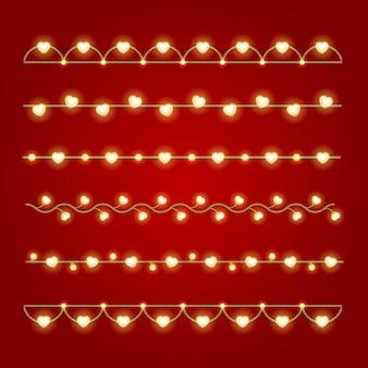 Feliz dia dos namorados lâmpadas de decoração brilhante conjunto ilustração vetorial