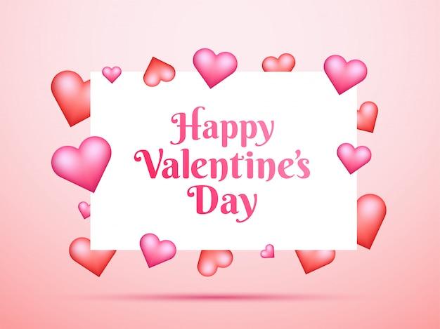 Feliz dia dos namorados letras com formas de coração brilhante em rosa