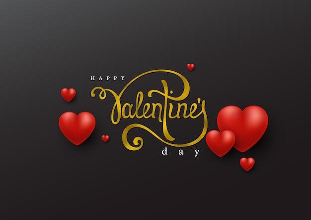 Feliz dia dos namorados letras de script manuscrito com efeito de folha de brilho e corações 3d.