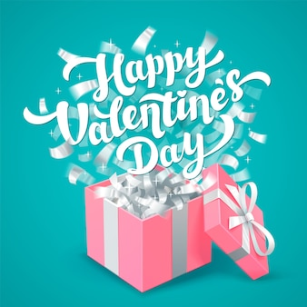 Feliz dia dos namorados letras e rosa caixa de presente