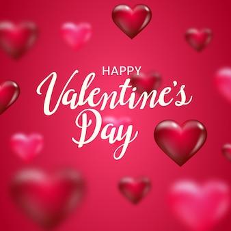 Feliz dia dos namorados letras texto com corações turva sobre fundo vermelho.