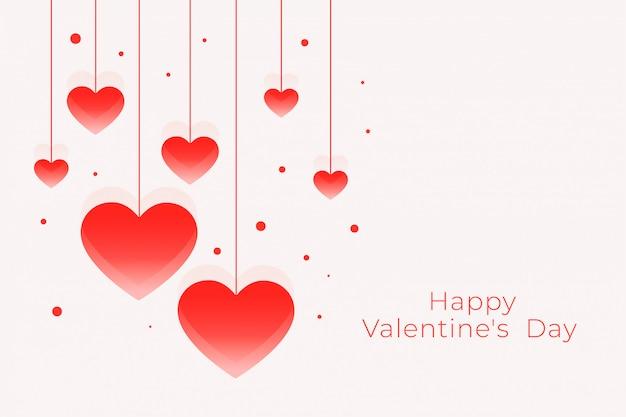 Feliz dia dos namorados lindo cartão com corações de suspensão