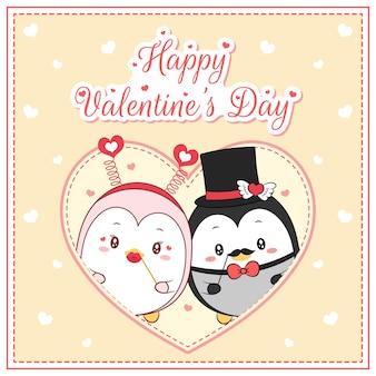 Feliz dia dos namorados lindos pinguins desenhando cartão postal grande coração
