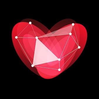 Feliz dia dos namorados logotipo porcelana de vidro vermelho coração amor feriados saudação cartão de internet vetor