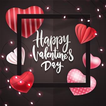 Feliz dia dos namorados mão lettering, com guirlanda de luzes de brilho, corações de volume vermelho, moldura quadrada.