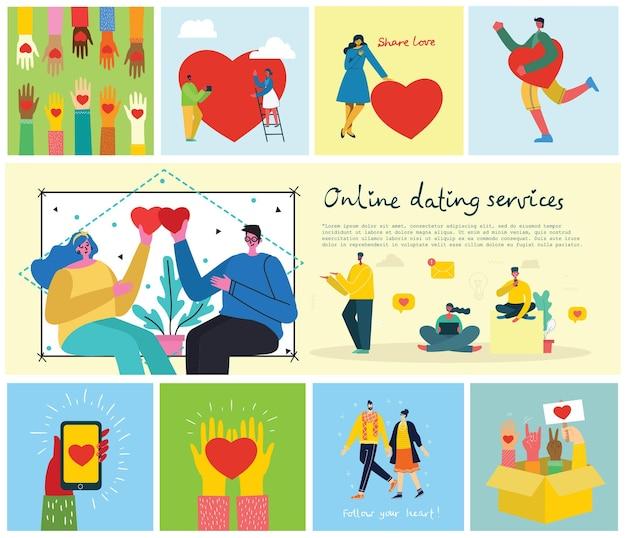 Feliz dia dos namorados. mãos, animais de estimação e pessoas com coração como massagens de amor. ilustração vetorial para o dia dos namorados em estilo moderno simples