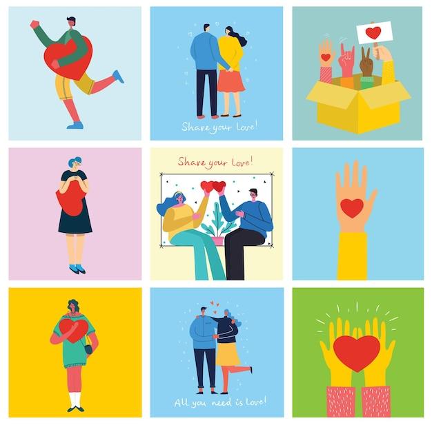 Feliz dia dos namorados mãos, animais de estimação e pessoas com corações como amor, massagens, ilustração vetorial para vale ...