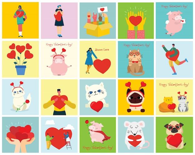 Feliz dia dos namorados. mãos, animais de estimação e pessoas com corações como massagens de amor. ilustração para dia dos namorados no estilo liso