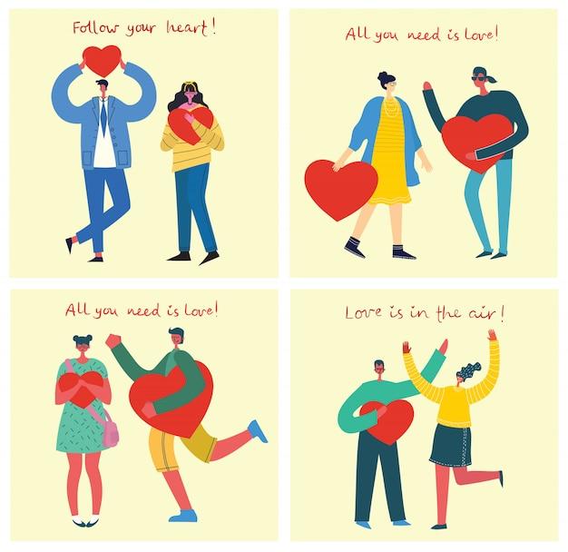 Feliz dia dos namorados. mãos e pessoas com corações como massagens de amor. ilustração vetorial para dia dos namorados