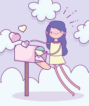 Feliz dia dos namorados, menina com envelope na caixa de correio corações amor nuvens ilustração vetorial