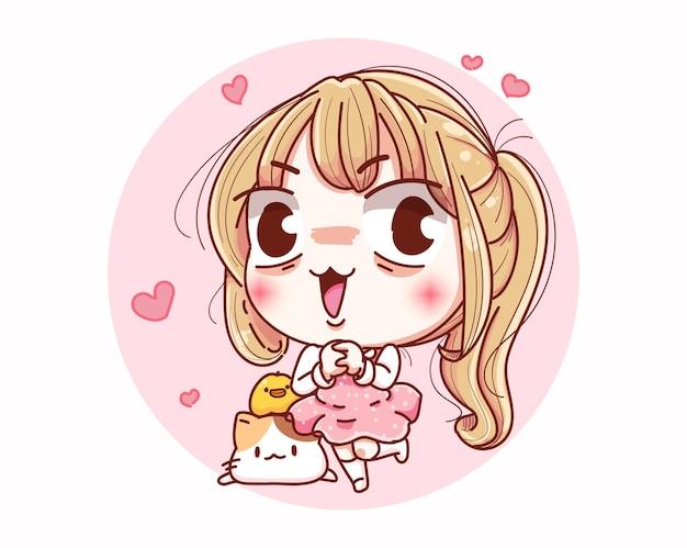 Feliz dia dos namorados menina e desenho de personagem de desenho animado.