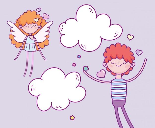 Feliz dia dos namorados, menino bonito e asas de cupido amam nuvens de corações