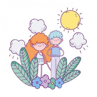 Feliz dia dos namorados, menino bonito e cupido flores folhagem sol nuvens ilustração