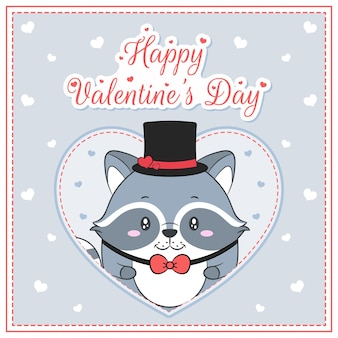 Feliz dia dos namorados menino guaxinim bonito desenho cartão postal grande coração