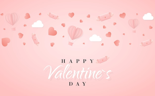 Feliz dia dos namorados modelo de cartão de convite com balão de ar quente de papel de origami em forma de coração, carta de papel, nuvens brancas e confetes. fundo rosa.