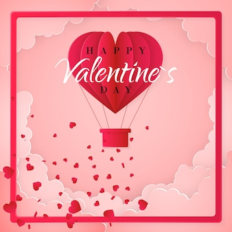 Feliz dia dos namorados modelo de cartão de convite com balão de ar quente de papel origami em forma de coração, nuvens brancas e confetes. fundo rosa.