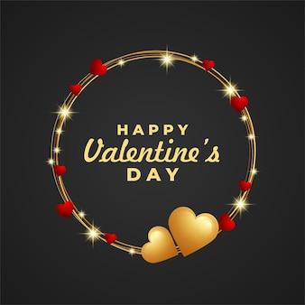 Feliz dia dos namorados moldura design forma de linha circular com decoração de coração