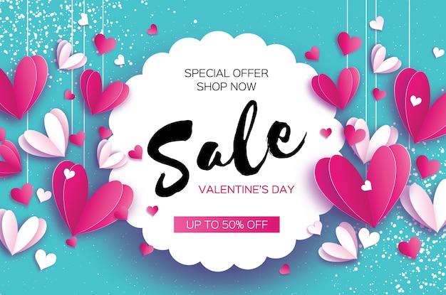 Feliz dia dos namorados oferta de venda corações brancos vermelhos de origami em estilo de corte de papel em magenta quadro de círculo cartaz de mercado da loja de texto férias românticas amor fevereiro