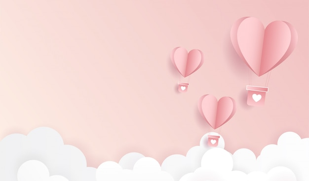 Feliz dia dos namorados. origami fez voar de balão de ar quente