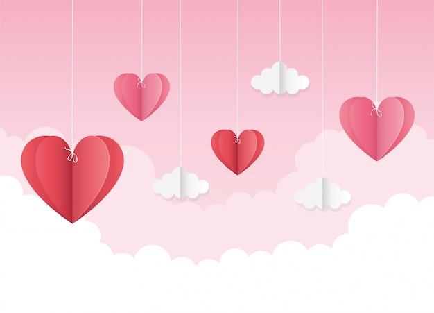 Feliz dia dos namorados origami pendurado corações nuvens