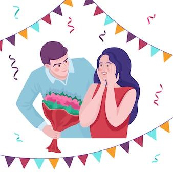Feliz dia dos namorados ou conceito de cartão de feliz aniversário. amor, ilustração plana de relacionamento.